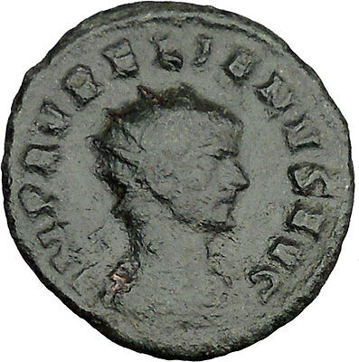 AURELIAN  receiving Victory from Roma 270AD Rare Ancient Roman Coin  i37627