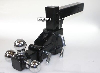 "2"" Tri-Ball Tow Hitch Mount 3 Ball Adjustable Vertical Travel Solid Raise Drop"
