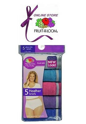 Fruit of the Loom Fit for Me Plus Size Women's Cotton Brief Panties 5-Pack
