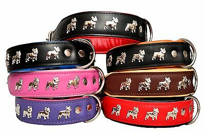 REAL LEATHER DOG COLLARS FRENCH BULLDOG & other LARGE BREEDS Handmade