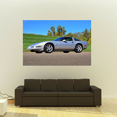 Chevy C4 Corvette Giant HD Poster Classic Muscle Car Huge Print 54x36 Inches