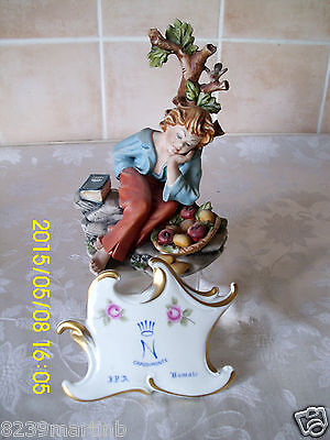 Capodimonte Figure Boy With A Book Resting By Germano Cortese Model No 327