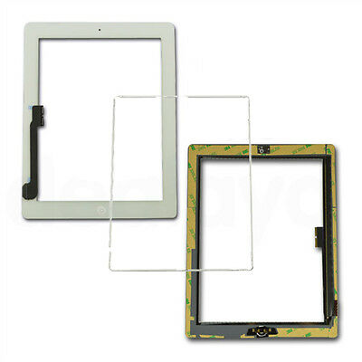 For White IPAD 3/4 Digitizer Lcd Touch Screen Front Glass Display Replacement