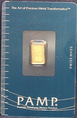 1 Gram Suisse Pamp Gold Bar .999 Fine New With Assay