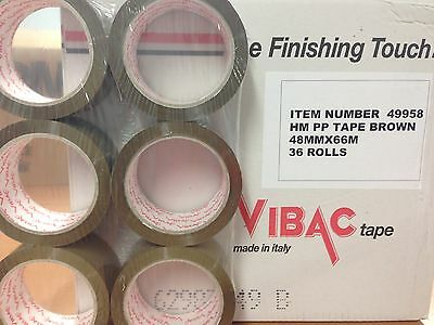 36 Rolls Vibac Brown / Buff Packaging / Packing Tape 48Mm X 66M Free 24Hr Del