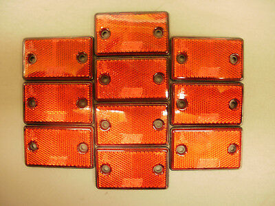 10 x Red ***SQUARE*** Reflectors for Driveway Gate Fence Posts & Trailers