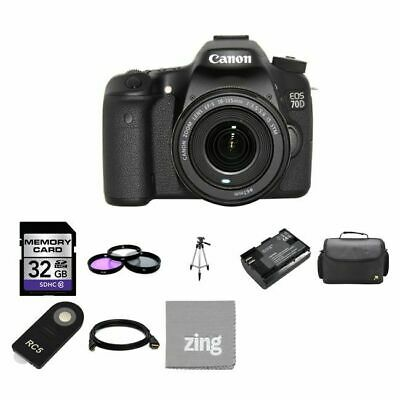 Canon EOS 70D Digital SLR Camera w/18-135mm Lens 32GB Full Kit