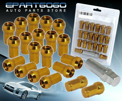 M12X1.25Mm 20Pcs Close End Acorn Steel Tuner Lug Nuts Racing Gold Jdm For Nissan