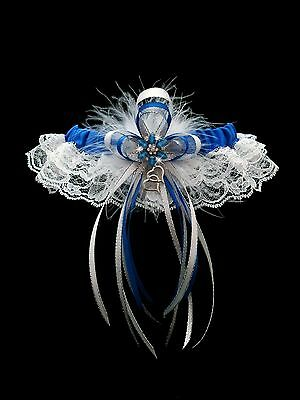 ROYAL BLUE WHITE Go Glam GARTER FEATHERS Prom Wedding Special Bridal