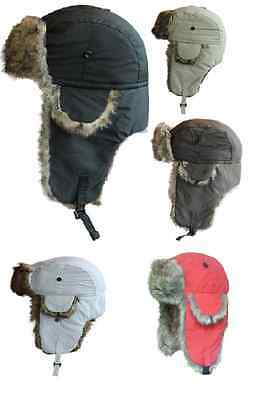 Gents Ladies Unisex Winter Waterproof Trapper Hat With Faux Fur