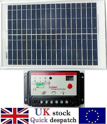 20w 25w 40w 50w PV Solar Panel with 10A PWM Charger Controller for 12v Battery