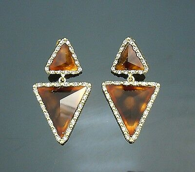 Vintage st Brown Marble triangle earrings Gold GP crystal frame 2.25inch=6cmL