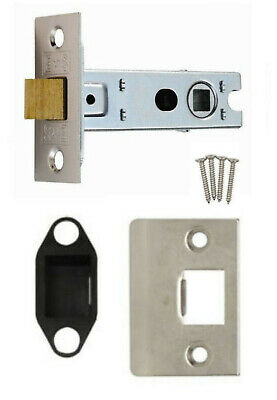 64mm BOLT THROUGH Door Tubular Mortice Latch Nickel Plated +RE+SQ Faceplates