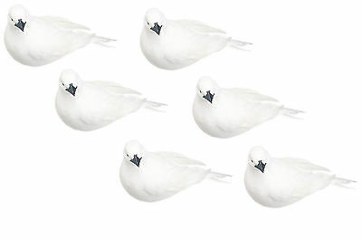 6 PC Feathered White Dove Bird Mushroom Artificial Crows Decorative Fake 3 inch