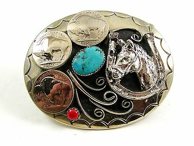 Handcrafted Cowboy Horse Shoe 3 Nickels Coral Turquoise Belt Buckle USA