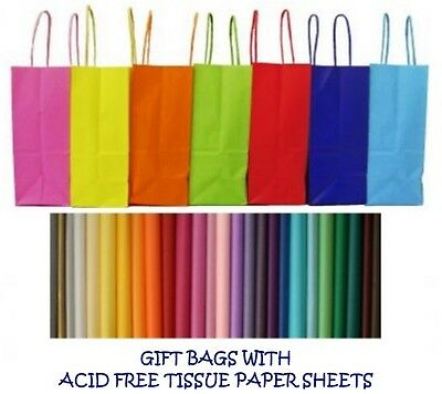 PARTY GIFT BAGS x 12 - WITH TISSUE PAPER - BIRTHDAY ~ WEDDINGS ~ CHRISTENINGS