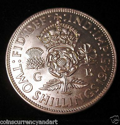1945 Two Shillings UK (Great Britain) KING GEORGE VI Coin
