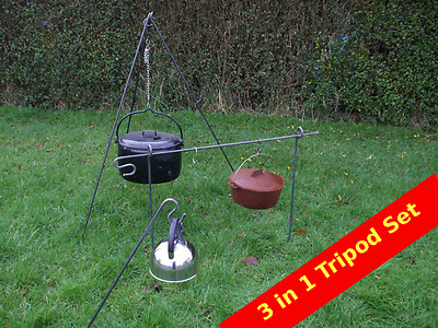 3 In 1 Camp Fire Camping Cooking Tripod Dutch Oven Bush Craft Reenactment Camp