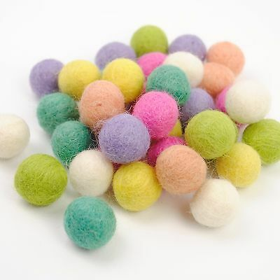 Wool Felt Ball Collections - 35 Balls / Mixed Colours / 2cm Size  GARLAND MAKING
