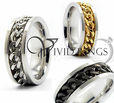 Mens Stainless Steel Ring w/ Chain Link Inlay 8MM