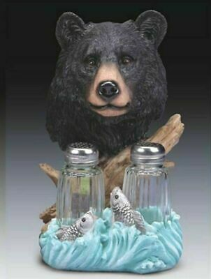 Wild Bear Fish Hunting Salt and Pepper Shakers Home Kitchen Decoration Statue