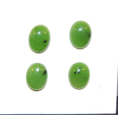 Green Nephrite Jade Cabochons 8x10mm Set of 4 with 3.5mm dome (6498)