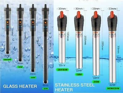 Submersible Crystal Glass Aquarium Heater 50W upto 500W Fish Tank Thermostat-UK