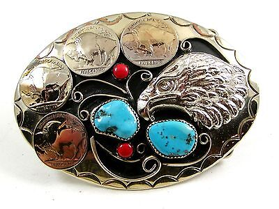 Handcrafted American Eagle 4 Nickels Coral Turquoise Belt Buckle USA