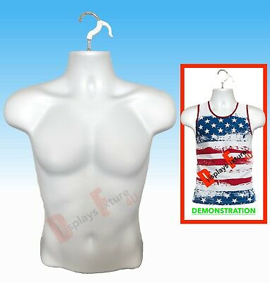 Male Mannequin, Display Clothing Shirt Body Torso Dress Hanger Man Form - WHITE