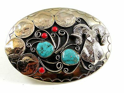 Southwest Handcrafted Big Horn Sheep Coral Turquoise Belt Buckle USA