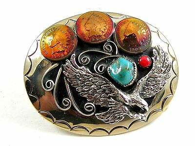 Southwest Handcrafted American Eagle 3 Pennys Turquoise Belt Buckle USA