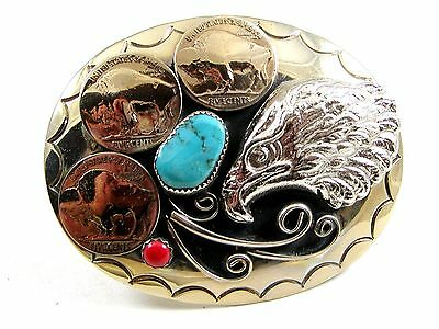 Handcrafted American Eagle 3 Nickles Coral & Turquoise Belt Buckle US