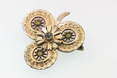 Detailed Victorian Y/Gold Gilt Flower Embossed Clover Pin Enamel Petals C-Clasp