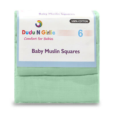 (Pack Of 6) Mint Premium Quality Baby Muslin Squares 100% Cotton,supersoft , New