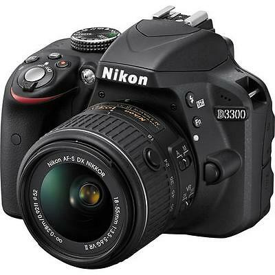 Nikon D3300 24.2 MP Digital SLR W/ NIKKOR 18-55mm f/3.5-5.6G VR II Lens Black