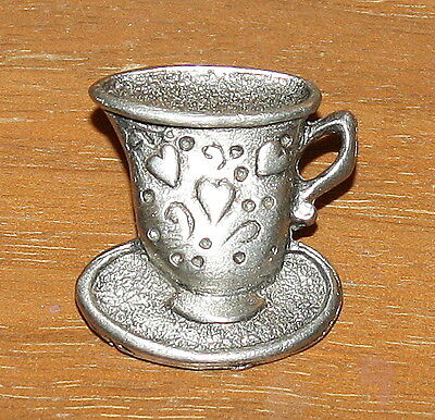 Tack Pin Footed Cup & Saucer with Hearts Embossed Textured Pewter
