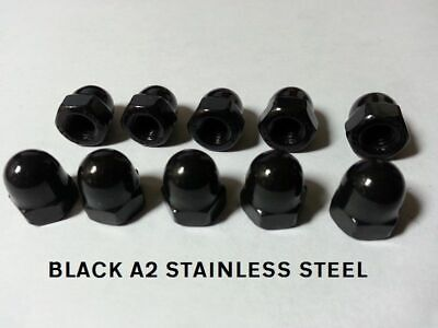 M6 BLACK STAINLESS STEEL DOME NUTS PACK OF 10  A2 Stainless Steel