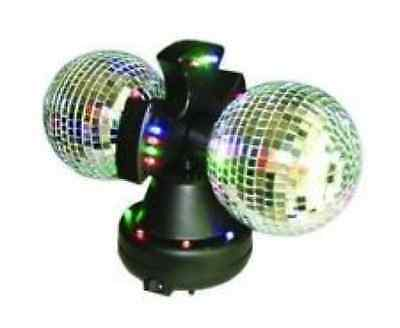 """4"""" Twin Mirror Rotating Disco Ball 198673-01 32 LED Light Lamp Color Mixing"""