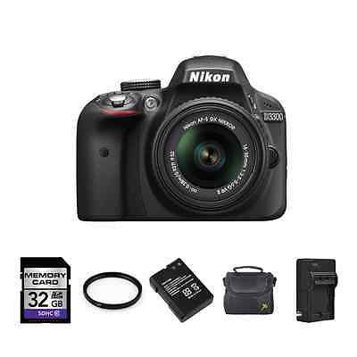Nikon D3300 Digital SLR Camera - Black w/18-55mm + 2 Batteries, 32GB & More