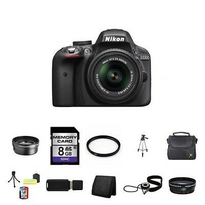 Nikon D3300 Digital SLR Camera - Black w/18-55mm Lens 8GB Full Kit