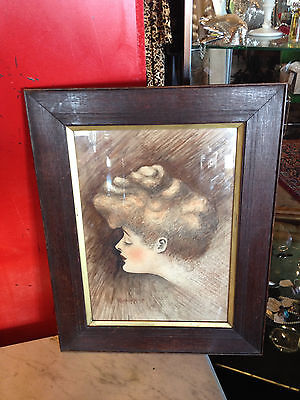 Antique 1903 William Ralph Horton Signed Pastel Chalk Drawing Side Profile Woman