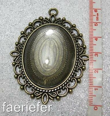 Large picture setting oval pendant frame matching glass dome 30 x 40 mm bronze
