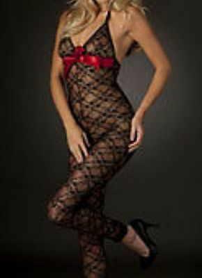 Temptation Miley Lace Bodystocking Size S M L (Black Red Bow)