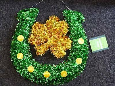 """St Patricks Day Party/Decor~Large 18"""" TINSEL LUCKY HORSESHOE~Door/Wall/Window"""