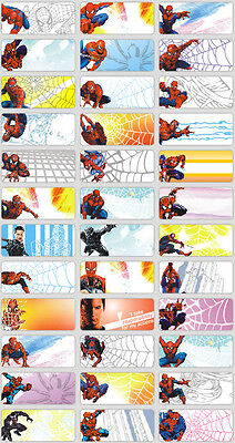 36 Spiderman 3x1.3cm Personalised Name Labels Sticker Self Adhesive vinyl school