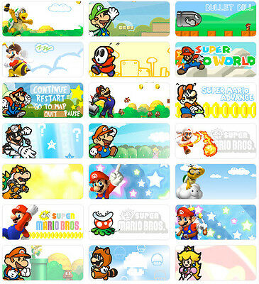 36 Super Mario 3x1.3cm Personalised Name Label Sticker Waterproof vinyl tag Bros