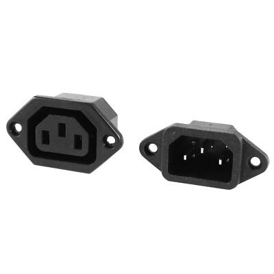 2 Pcs IEC C14 C13 3 Pin Chassis Panel Mount Plug Connector AC 250V 10A