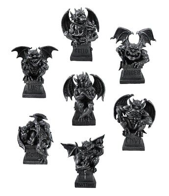 "Magnificent Seven Deadly Sins Gargoyle Figurine Set of 7 Statue Home Decor 8.5""H"