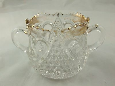 Vintage Pressed Glass Small Sugar Bowl * Gold Trimmed * Nice Old Piece!! #5