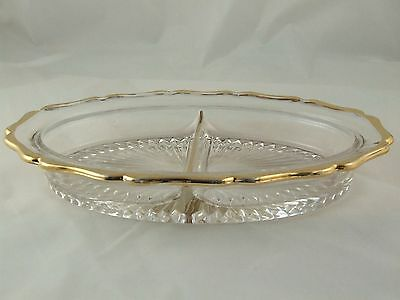VINTAGE PRESSED GLASS RELISH TRAY * GOLD TRIMMED * EXCELLENT PIECE!! #6